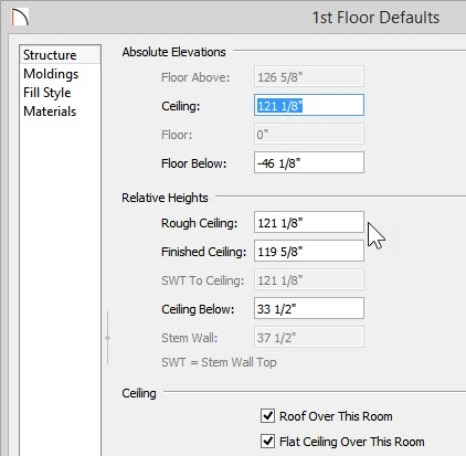 """1st Floor Defaults dialog with 121 1/8"""" Rough Ceiling value"""
