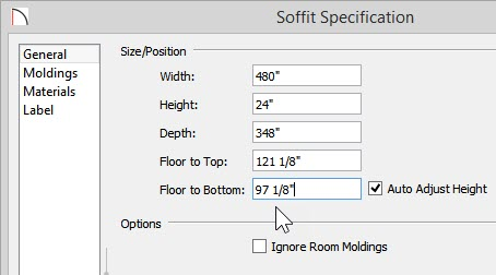 """Soffit Specification dialog with 24"""" Height and 97 1/8"""" Floor to Bottom values"""