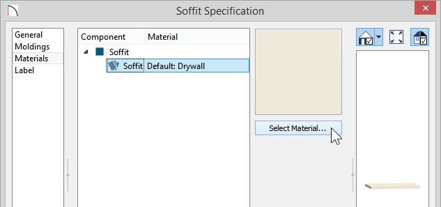 Materials panel of Soffit Specification with Soffit material highlighted and Select Material button