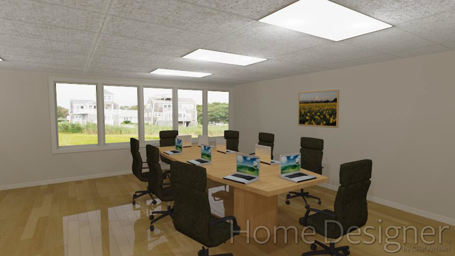 Conference Room with suspended ceiling and florescent lights