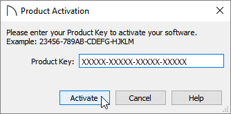 Product Activation dialog where your 20 character product key is entered