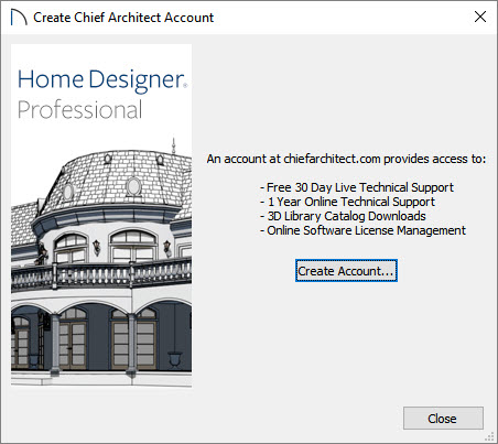 Create a Chief Architect Account by selecting the Create Account button