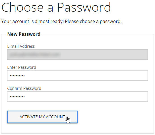 Enter your desired password and click Active My Account