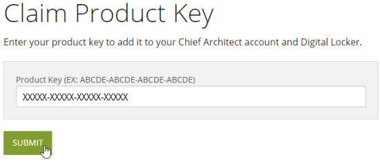 Claim your Product Key after creating a Chief Architect account