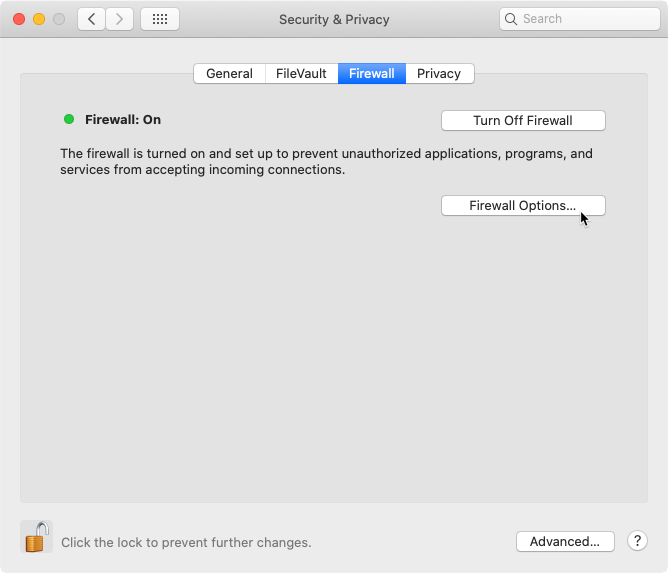 Accessing the Firewall Options located in the Security & Privacy section of the System Preferences