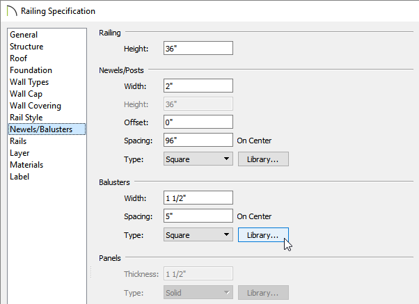 Selecting the Library button next to the Baluster Type on the Newels/Balusters panel of the Railing Specification dialog