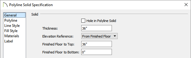 Specify a Thickness for the polyline solids in the Polyline Solid Specification dialog