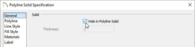Check the Hole in Poyline Solid box in the Polyline Solid Specification dialog