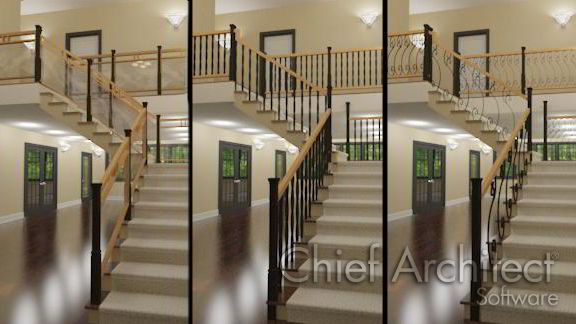 three views of the same stair with different balusters and newels