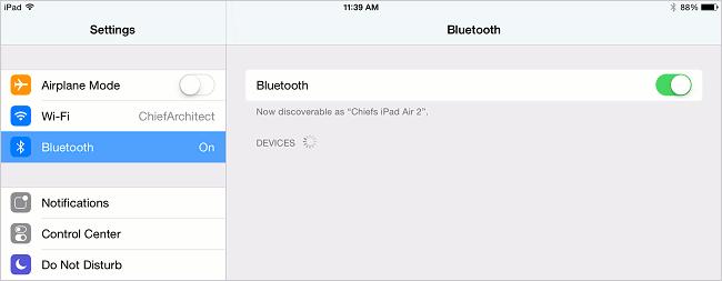 iPad Settings screen.