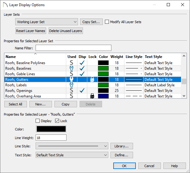 Roofs, Gutters layer selected in the Layer Display Options