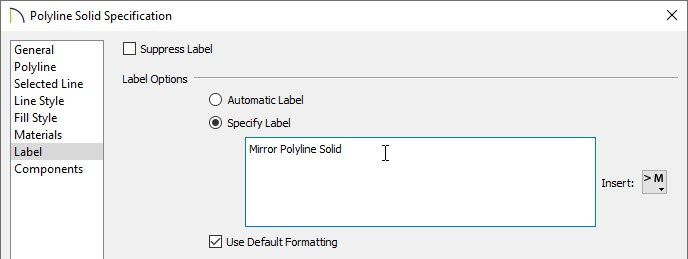Specifying the label of the polyline solid