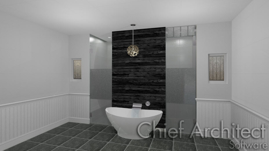 Bathroom containing custom wall material regions