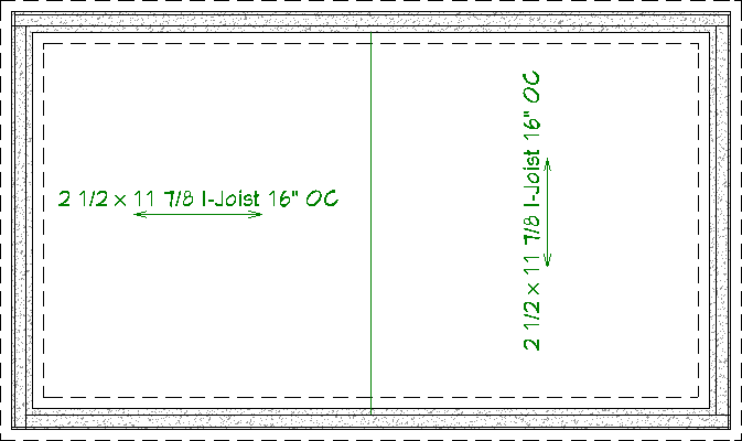 Two Joist Direction lines drawn on the foundation