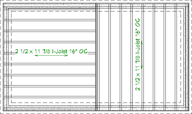 Floor Plan view of foundation with floor joists generated for the first floor going in different directions on each side of the bearing line