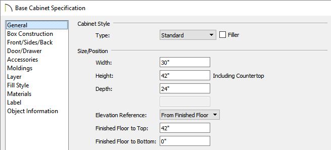 Set the width, height and other cabinet properties in the Base Cabinet Specification dialog