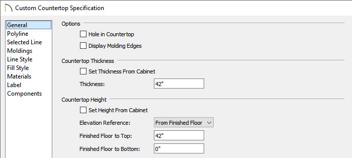 Custom Countertop Specification dialog
