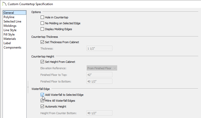 Check the Add Waterfall to Selected Edge box