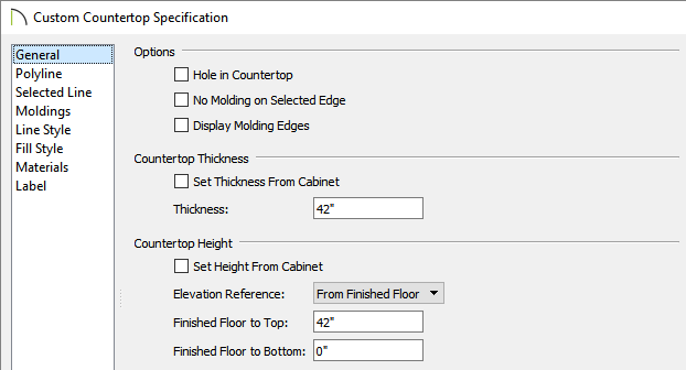 Custom Countertop Specification dialog where the thickness and height of the countertop can be set