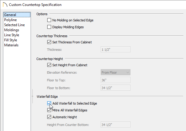 Check Add Waterfall to Selected Edge box on the General panel of the Custom Countertop Specification dialog