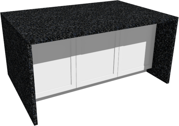Perspective Full Camera view of a kitchen island with a waterfall counter