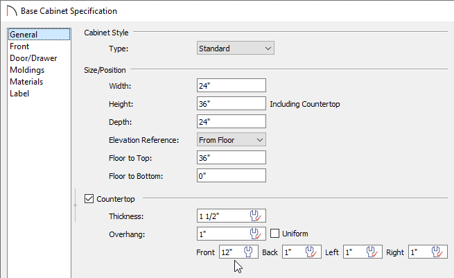 Adjusting the Countertop Overhang on the General panel of the Base Cabinet Specification dialog
