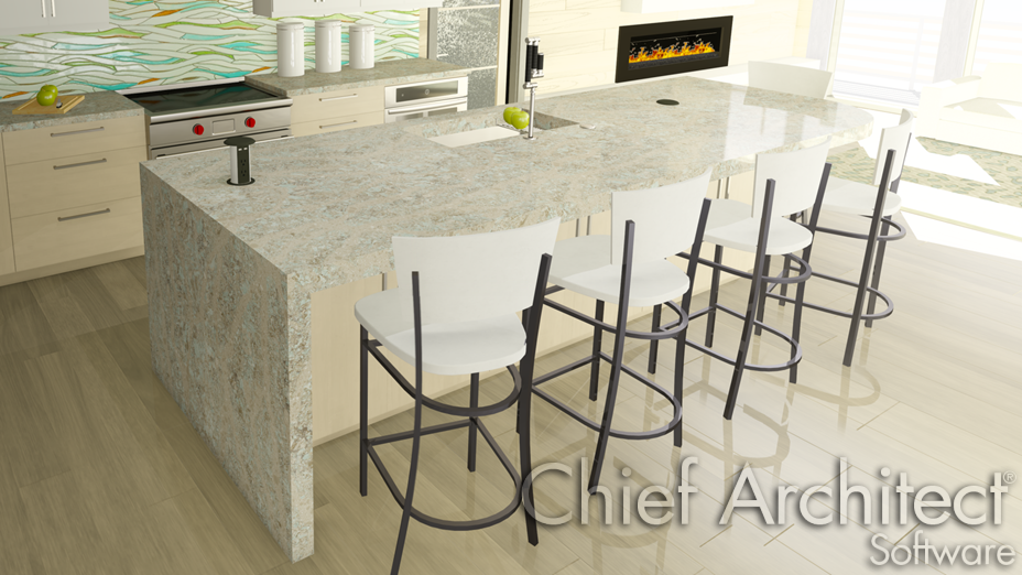 Waterfall countertop applied to a kitchen island
