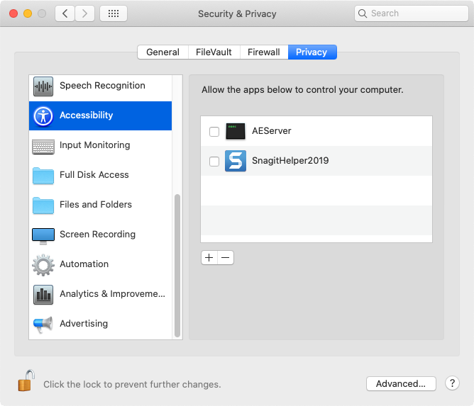 Accessibility section located on the Privacy tab of Security & Privacy
