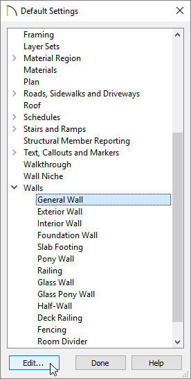 Select the General Wall and click Edit