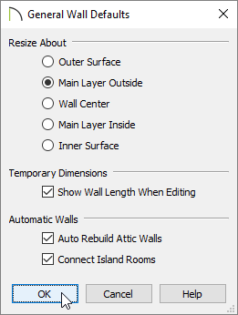 Adjust your General Wall Defaults, then click OK