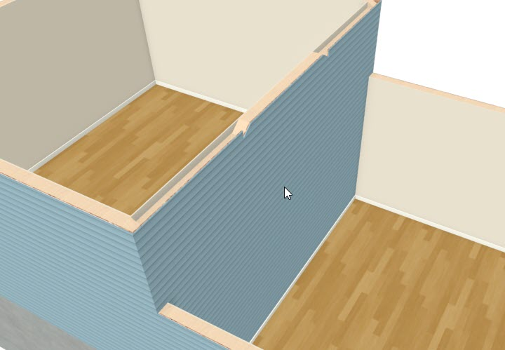 Select the dividing wall if the exterior siding is not facing the lower room.