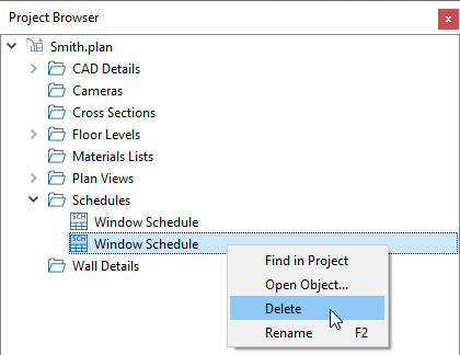 Deleting a window schedule from the Project Browser