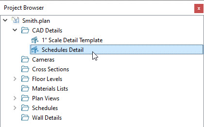 Locating a schedule in a CAD Detail