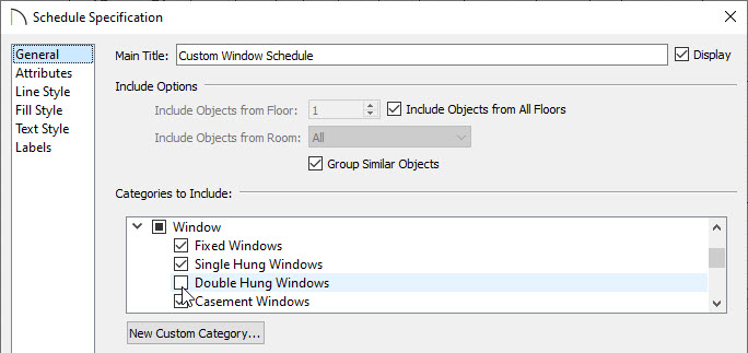 Removing Double Hung Windows from the categories to include section of the schedule