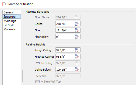 Change the ceiling height for a room on the Structure panel of the Room Specification dialog