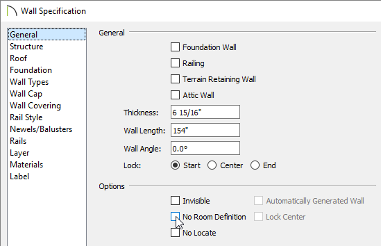 Remove the check from the No Room Definition box on the General panel of the Wall Specification dialog