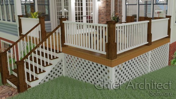 deck and stairs with lattice underneath