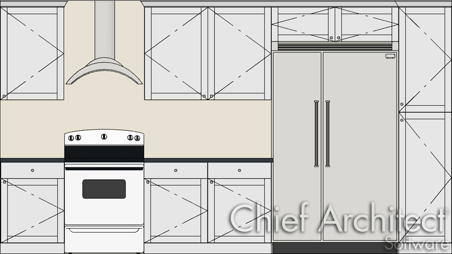 kitchen elevation showing the swing direction of each cabinet door