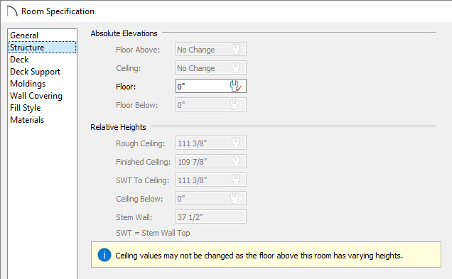 Room Specification dialog stating that ceiling values may not be changed