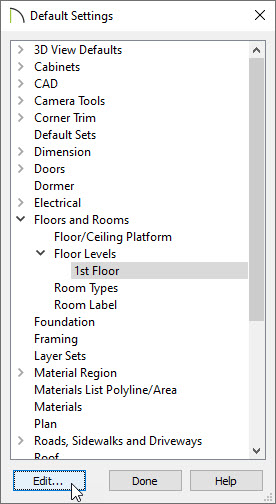 Set the default ceiling heights for your first floor in Default Settings