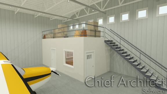 commercial airplane hangar with office ceiling used for storage