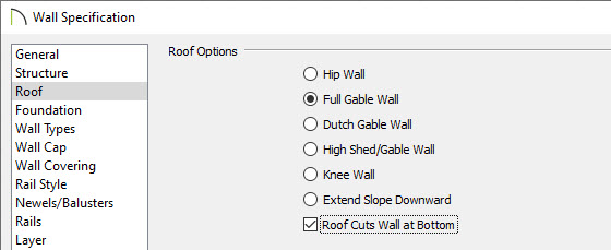 roof cuts wall at bottom check box in wall specification