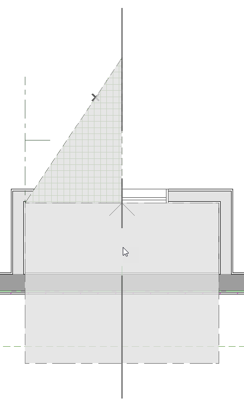 Roof plane selected with copy and reflect about chimney specified