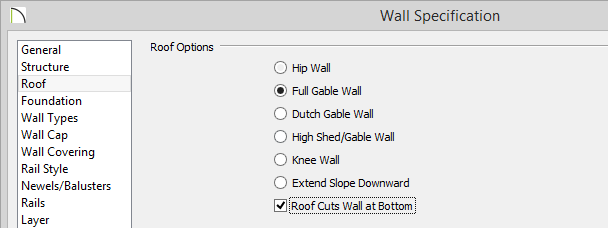 Wall Specification dialog showing Full Gable Wall and Roof Cuts Wall at Bottom selected on Roof panel
