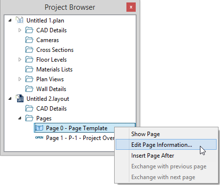 Project Browser open with a right-click menu open for Page 0 with Edit Page Information selected