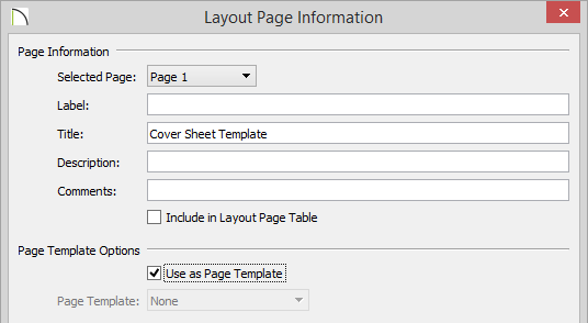 Layout Page Information with new Title and Use as Page Template option checked