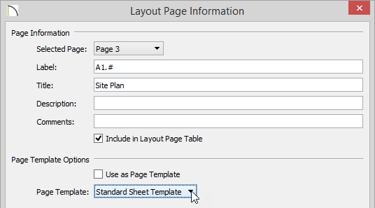 Layout Page Information dialog with the Label and Title fields specified and Standard Sheet Template set as the Page Template