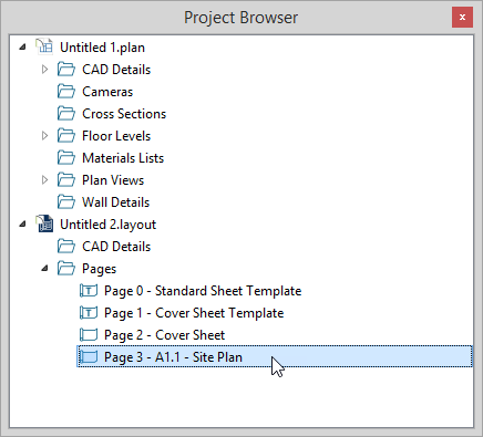 Project Browser with Page 3 - A1.1 - Site Plan showing