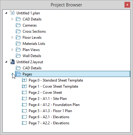 Project Browser with Pages section open showing Page 0 through Page 7