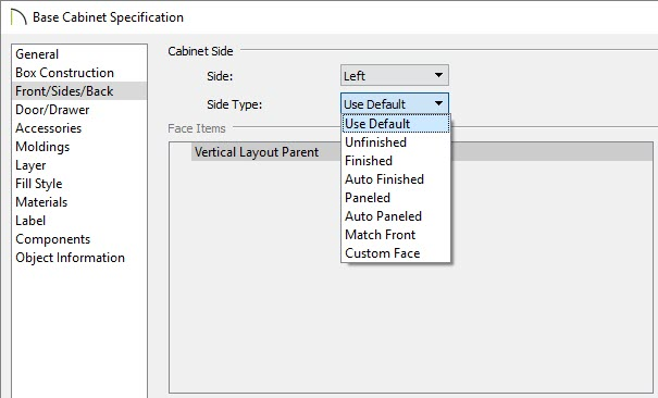Select the Side Type using the Side Type drop-down menu on the Front/Sides/Back panel